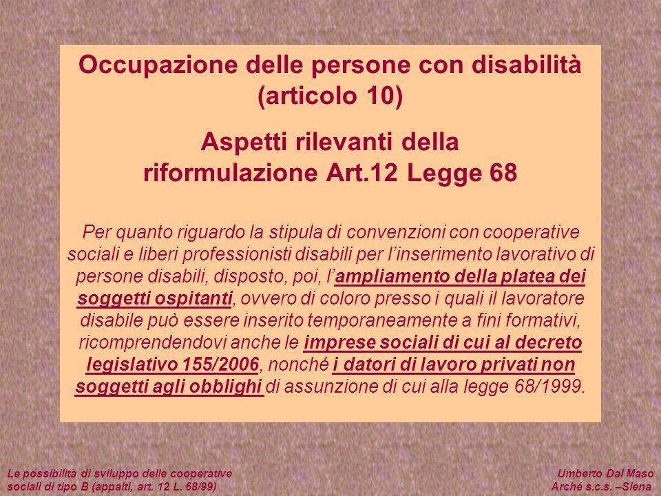 Occupazione delle persone con disabilità (articolo 10)