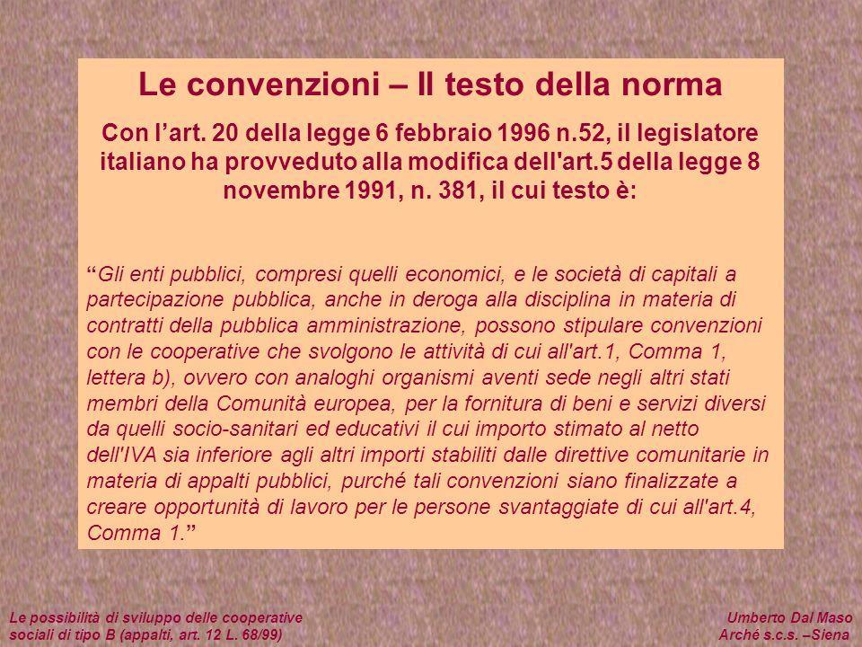Le convenzioni – Il testo della norma