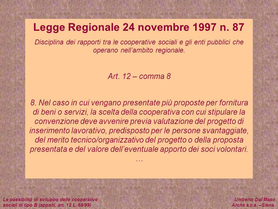 Legge Regionale 24 novembre 1997 n. 87
