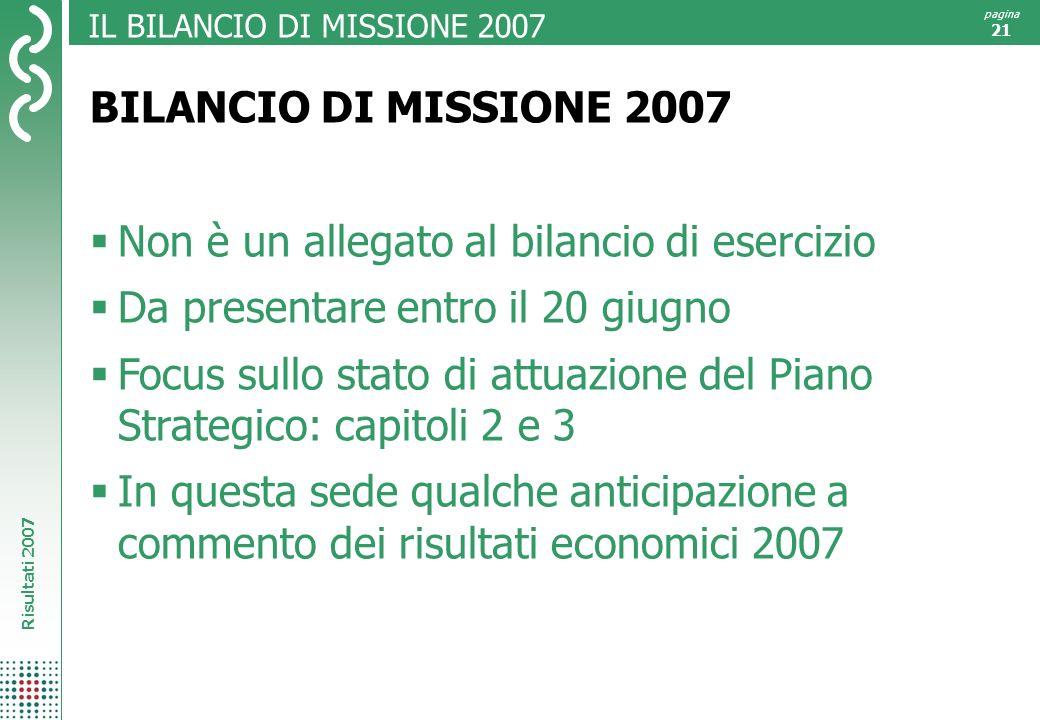 IL BILANCIO DI MISSIONE 2007