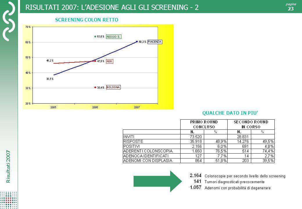 RISULTATI 2007: L'ADESIONE AGLI GLI SCREENING - 2
