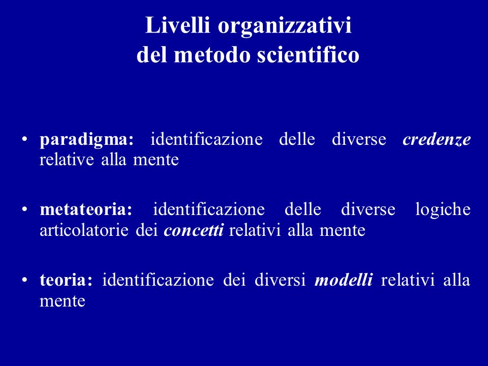 Livelli organizzativi del metodo scientifico