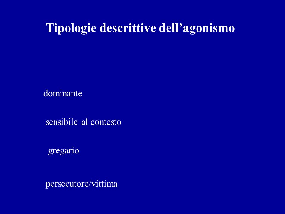 Tipologie descrittive dell'agonismo