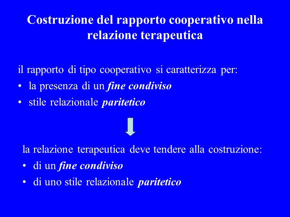 Costruzione del rapporto cooperativo nella relazione terapeutica