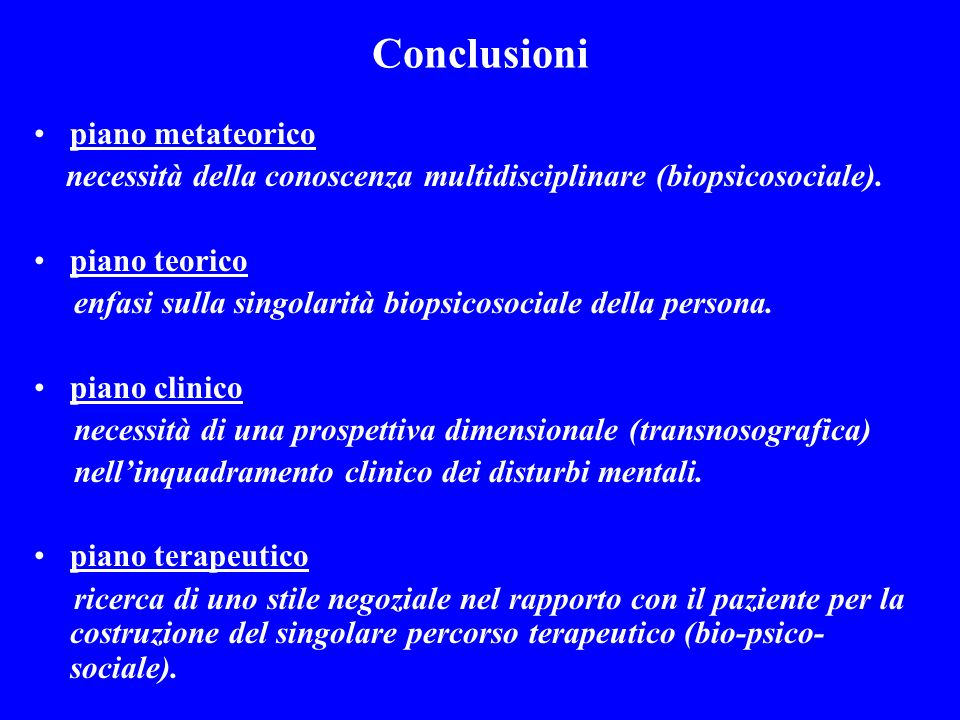 Conclusioni piano metateorico