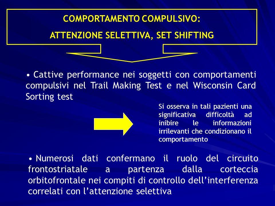 COMPORTAMENTO COMPULSIVO: ATTENZIONE SELETTIVA, SET SHIFTING
