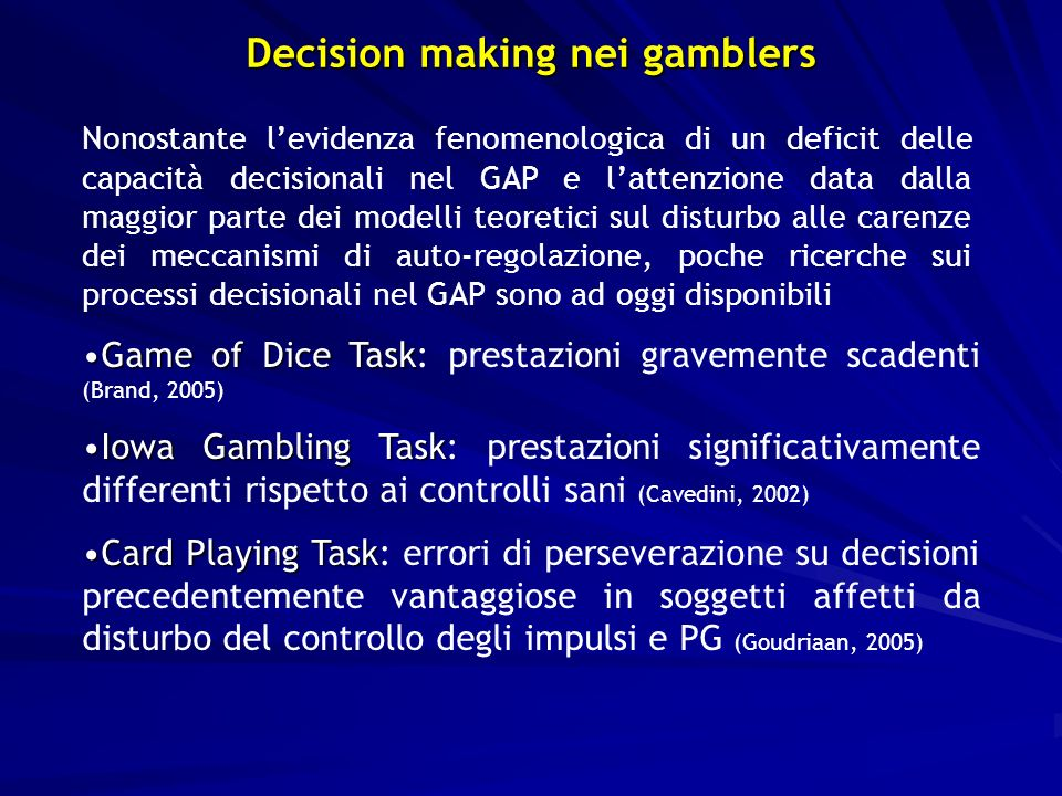 Decision making nei gamblers