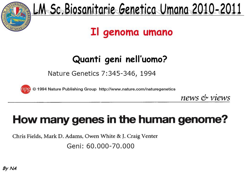 Il genoma umano Quanti geni nell'uomo Nature Genetics 7:345-346, 1994