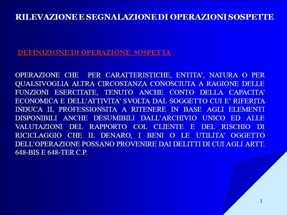 RILEVAZIONE E SEGNALAZIONE DI OPERAZIONI SOSPETTE