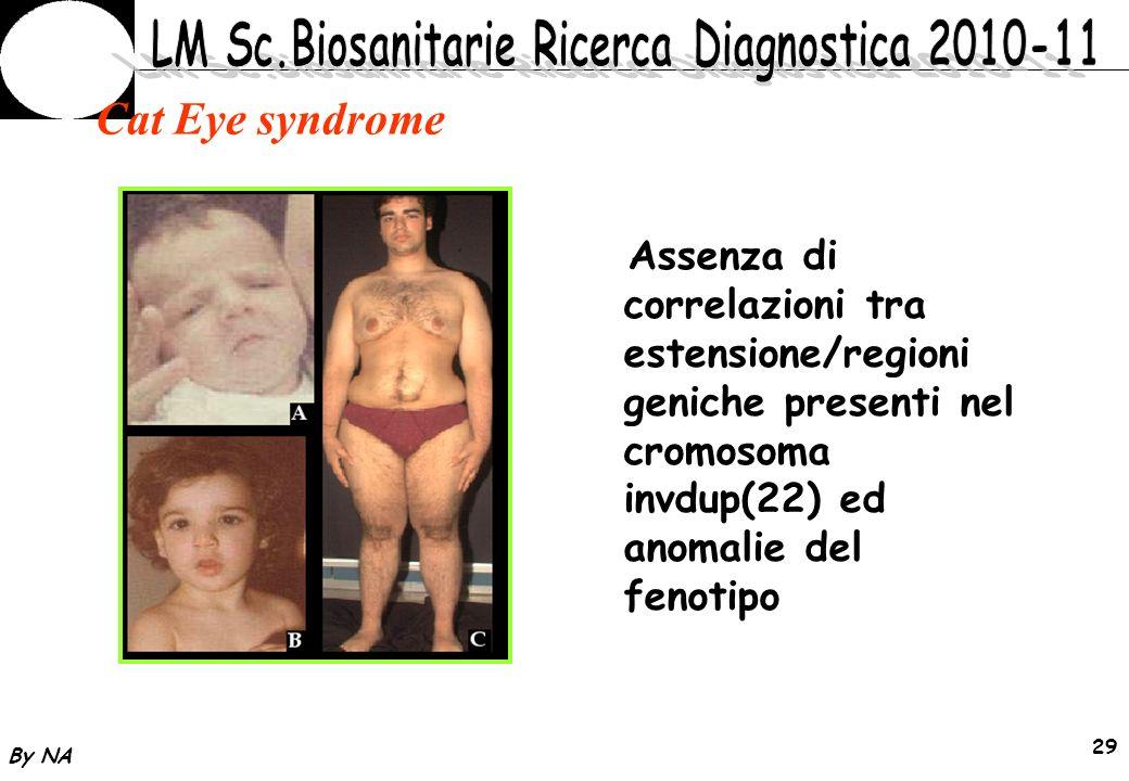 Cat Eye syndrome Assenza di correlazioni tra estensione/regioni geniche presenti nel cromosoma invdup(22) ed anomalie del fenotipo.