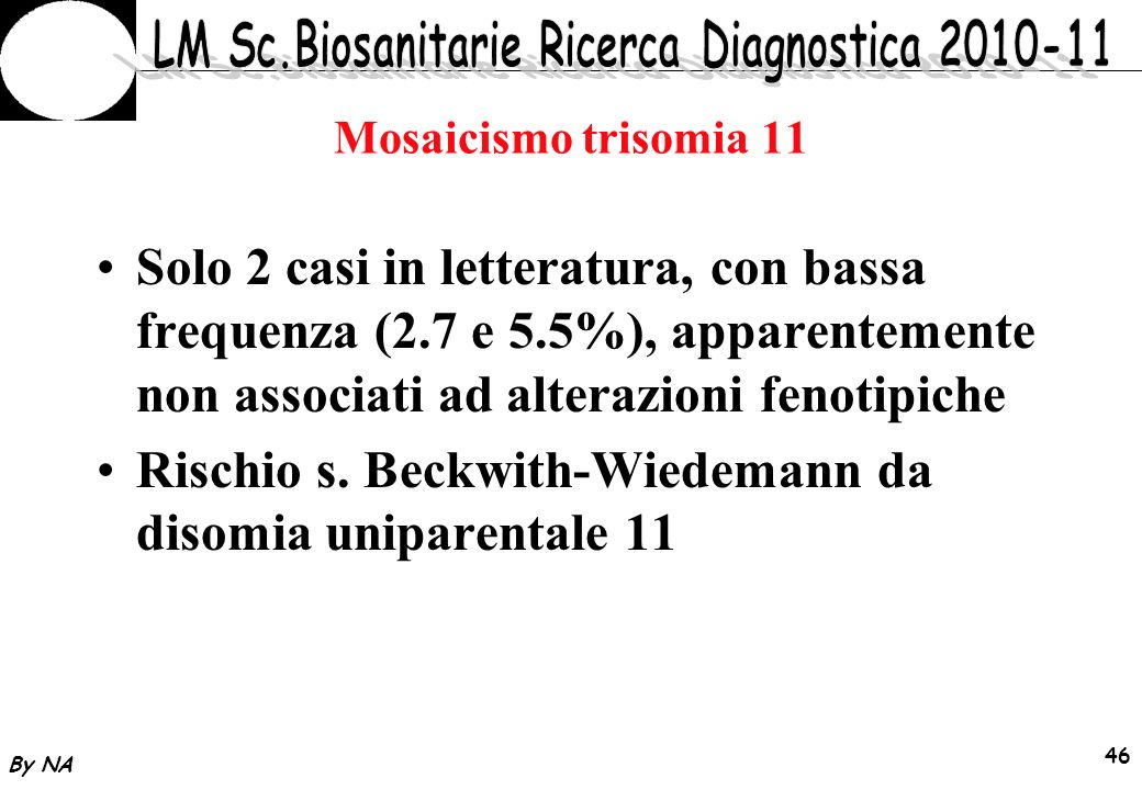 Rischio s. Beckwith-Wiedemann da disomia uniparentale 11