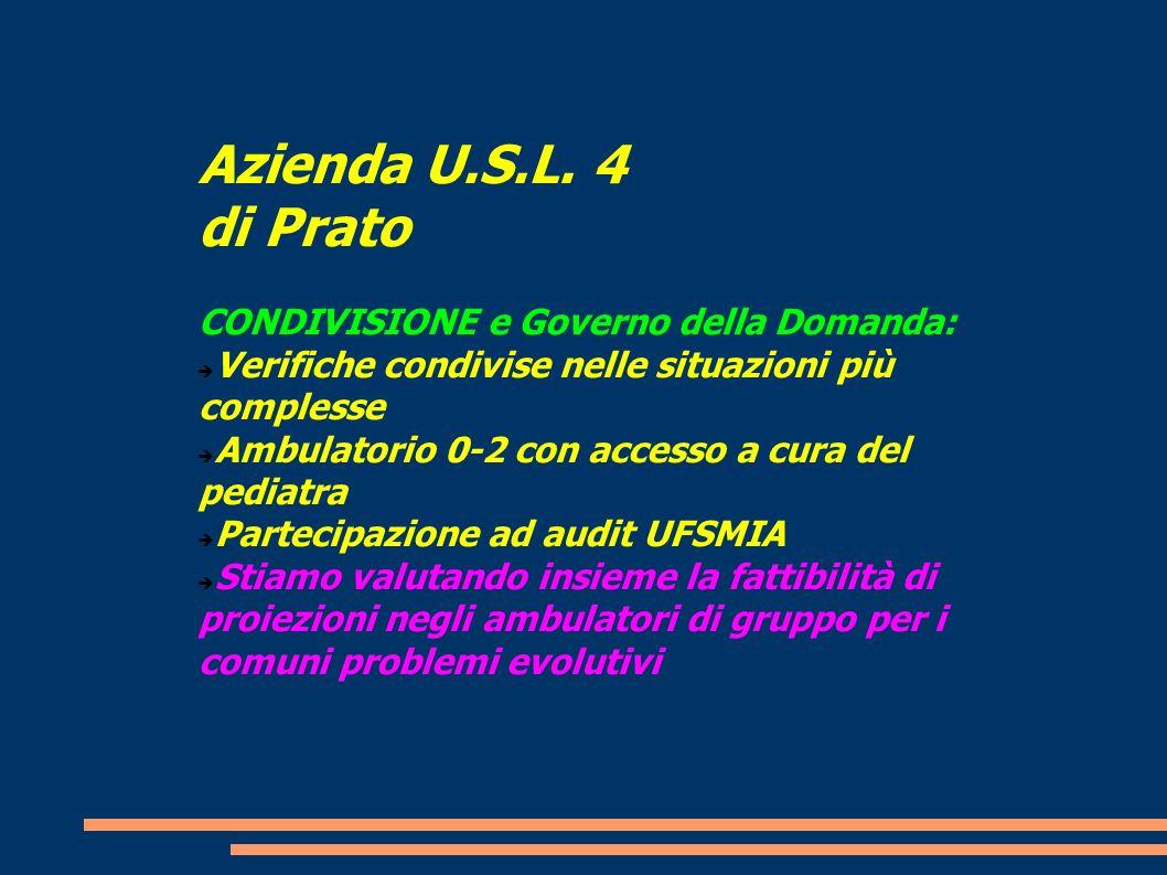 Azienda U.S.L. 4 di Prato CONDIVISIONE e Governo della Domanda:
