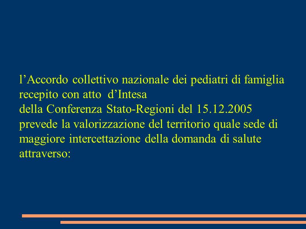 l'Accordo collettivo nazionale dei pediatri di famiglia