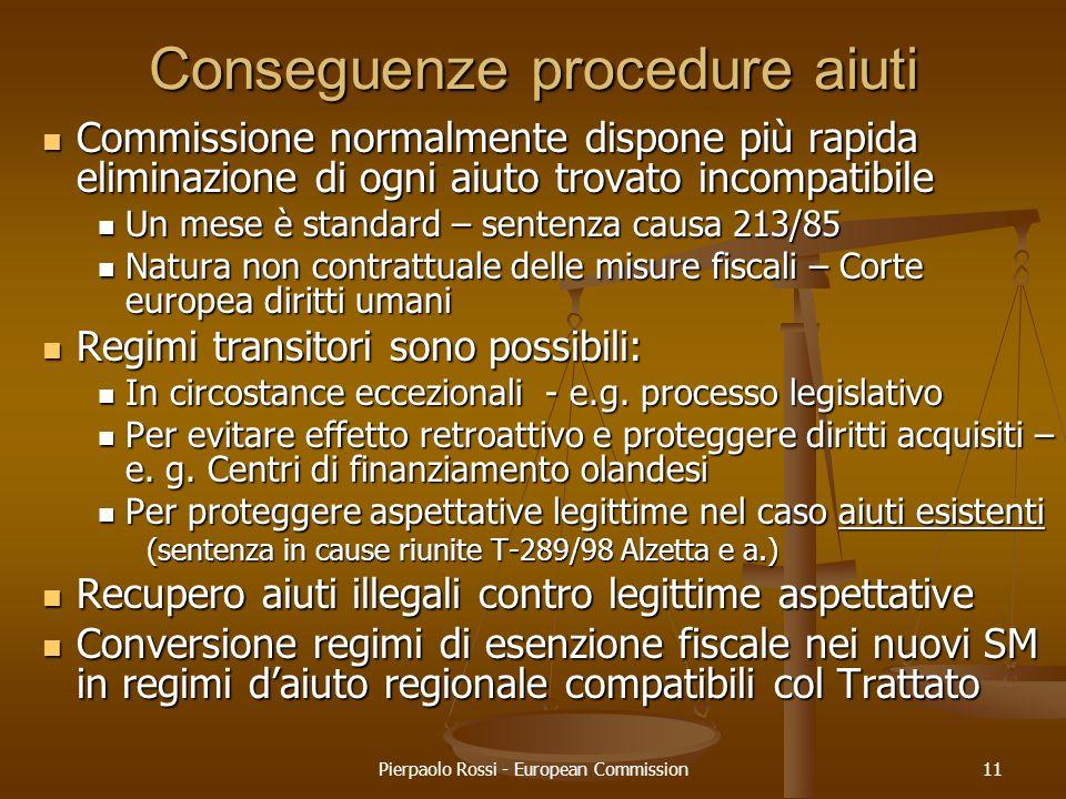 Conseguenze procedure aiuti