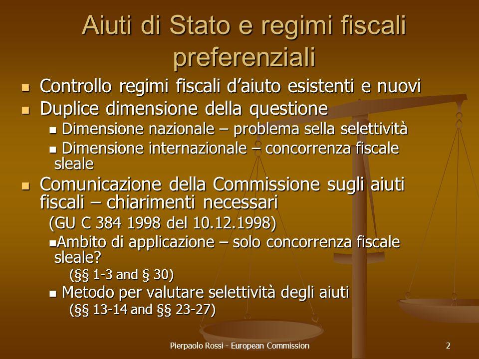 Aiuti di Stato e regimi fiscali preferenziali