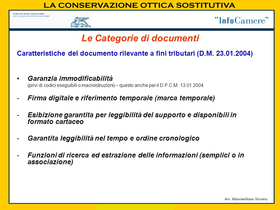 Le Categorie di documenti