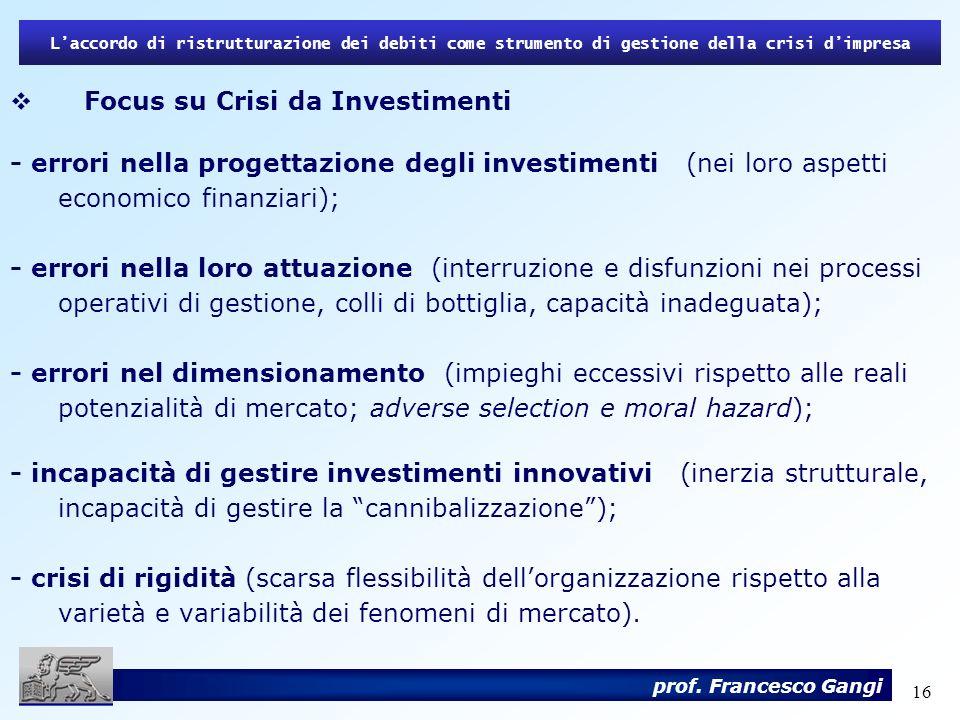 Focus su Crisi da Investimenti