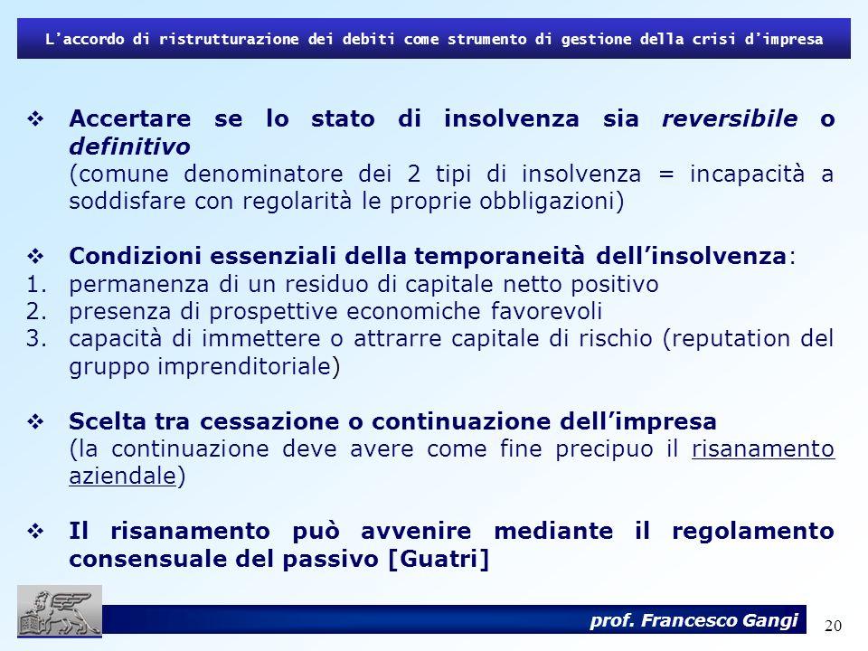 Accertare se lo stato di insolvenza sia reversibile o definitivo
