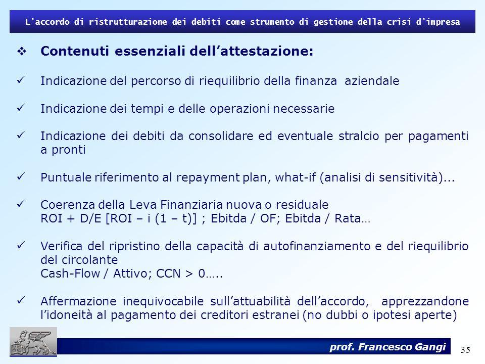 Contenuti essenziali dell'attestazione:
