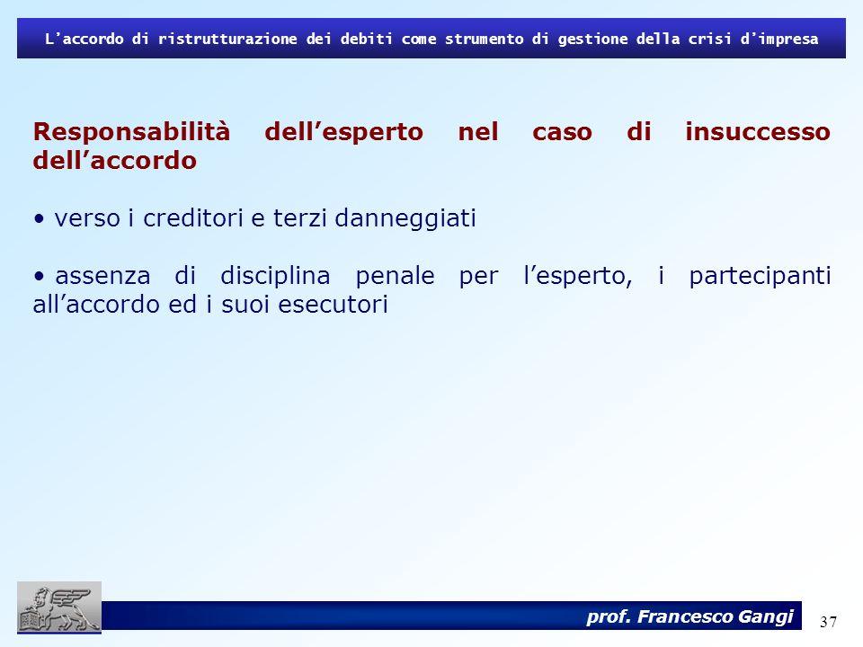 Responsabilità dell'esperto nel caso di insuccesso dell'accordo