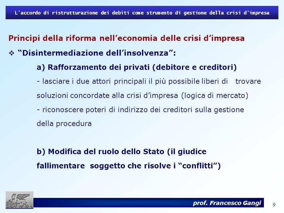 Principi della riforma nell'economia delle crisi d'impresa