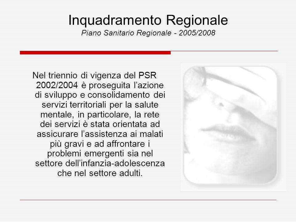 Inquadramento Regionale Piano Sanitario Regionale - 2005/2008