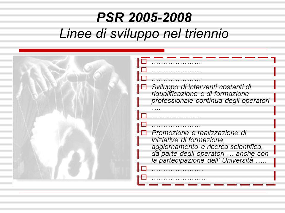PSR 2005-2008 Linee di sviluppo nel triennio