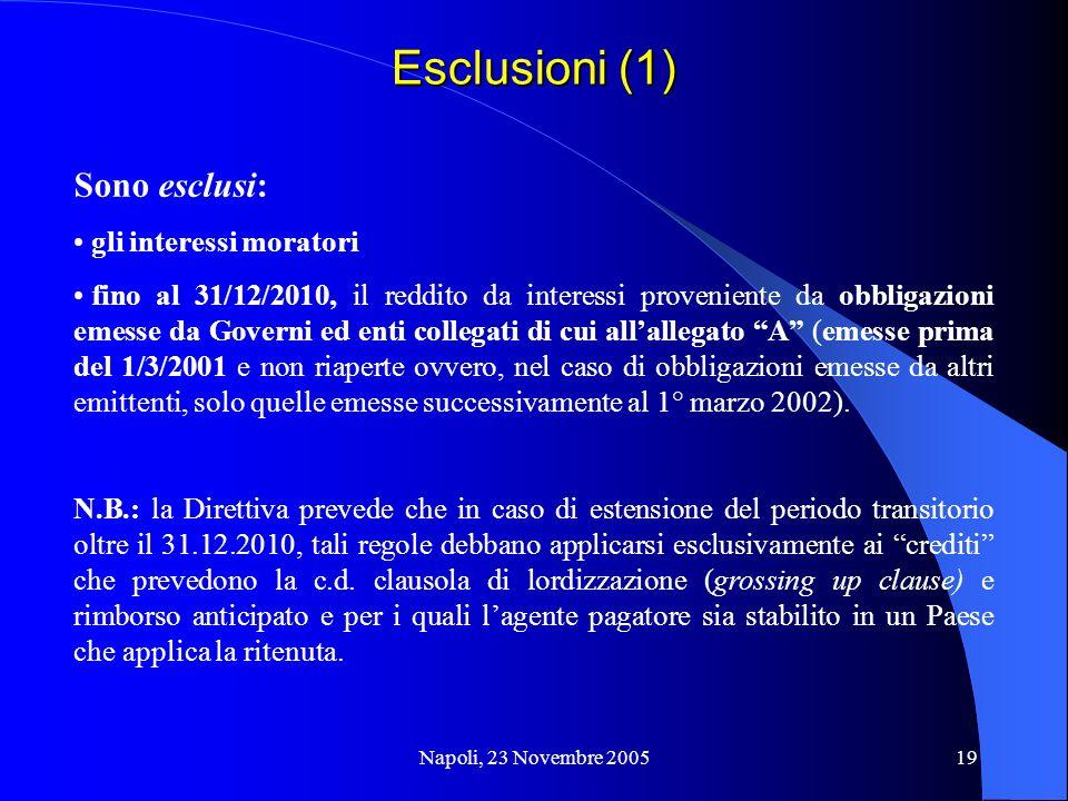 Esclusioni (1) Sono esclusi: gli interessi moratori