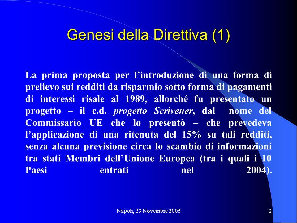 Genesi della Direttiva (1)