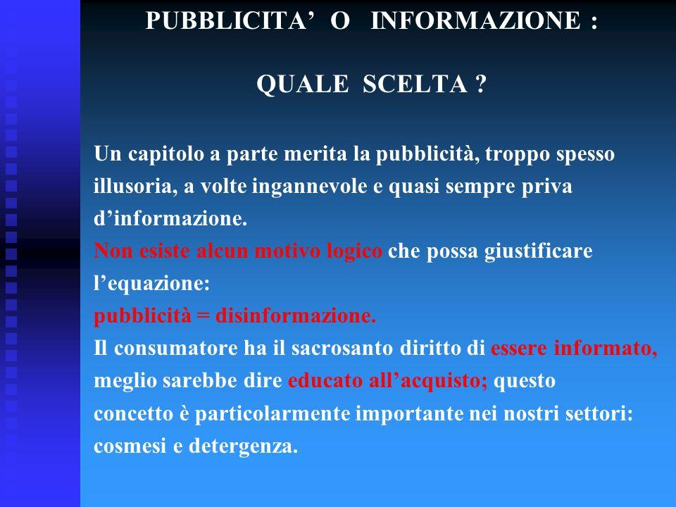PUBBLICITA' O INFORMAZIONE : QUALE SCELTA