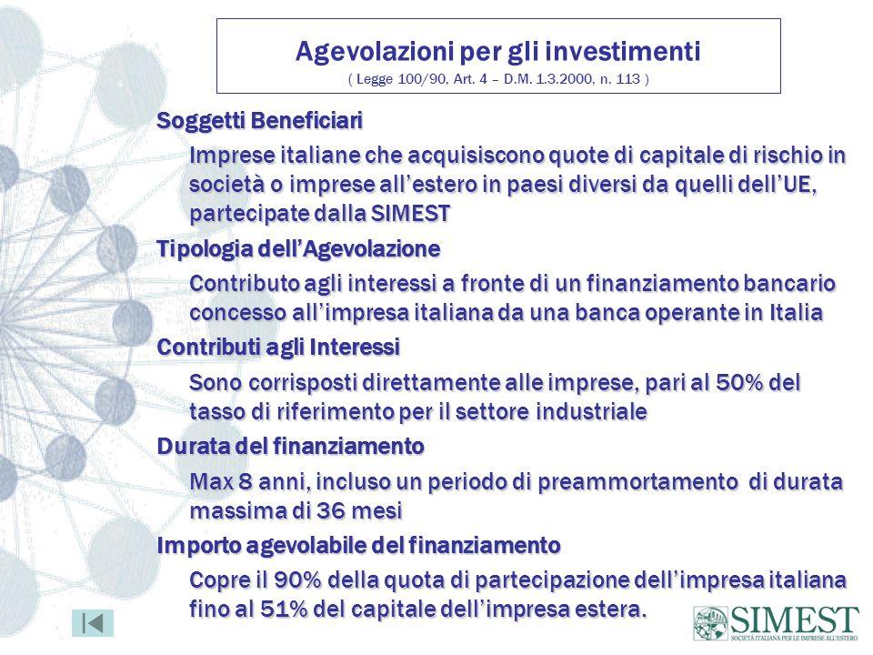 Agevolazioni per gli investimenti ( Legge 100/90, Art. 4 – D. M. 1. 3