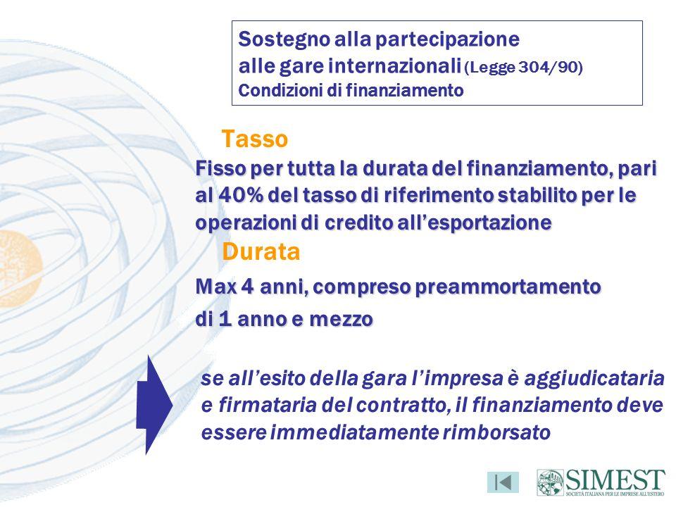 Sostegno alla partecipazione alle gare internazionali (Legge 304/90) Condizioni di finanziamento