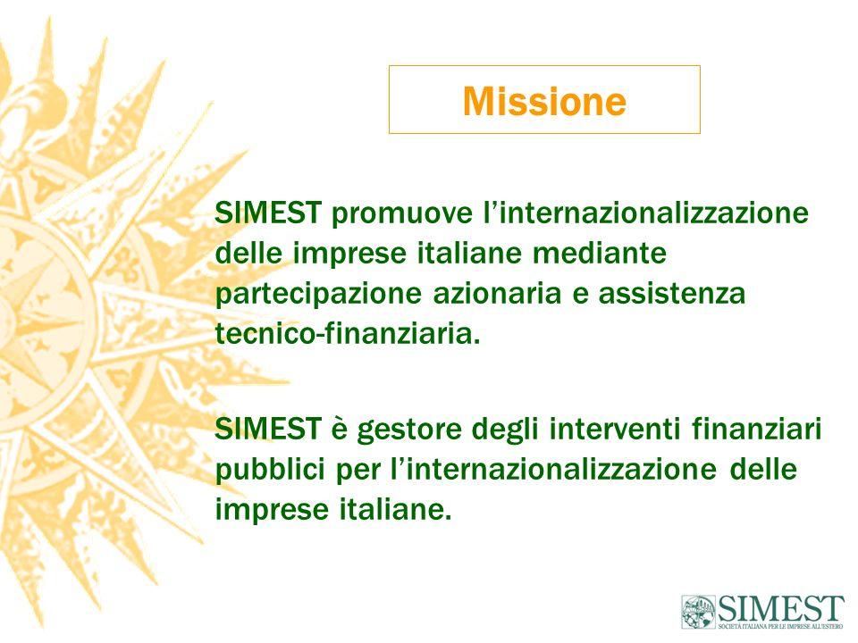 Missione SIMEST promuove l'internazionalizzazione delle imprese italiane mediante partecipazione azionaria e assistenza tecnico-finanziaria.