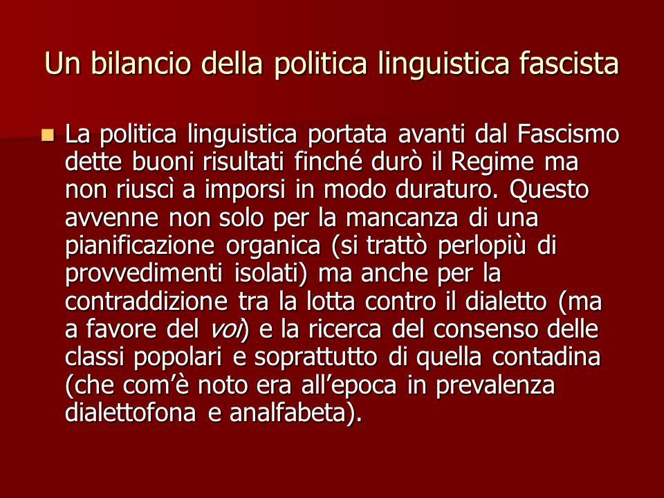 Un bilancio della politica linguistica fascista