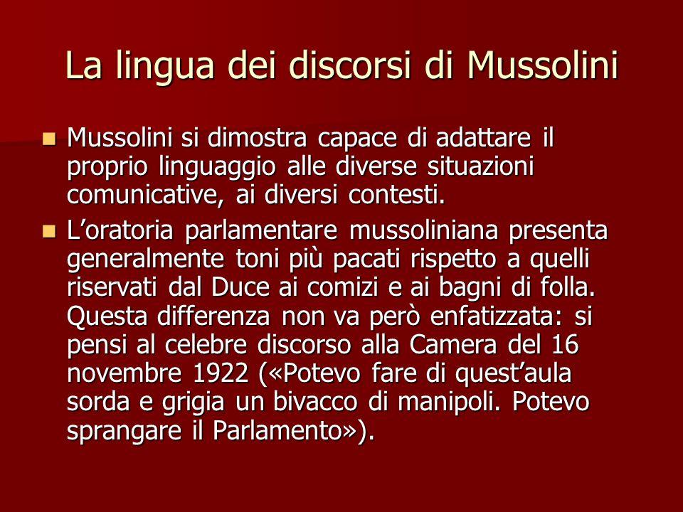 La lingua dei discorsi di Mussolini
