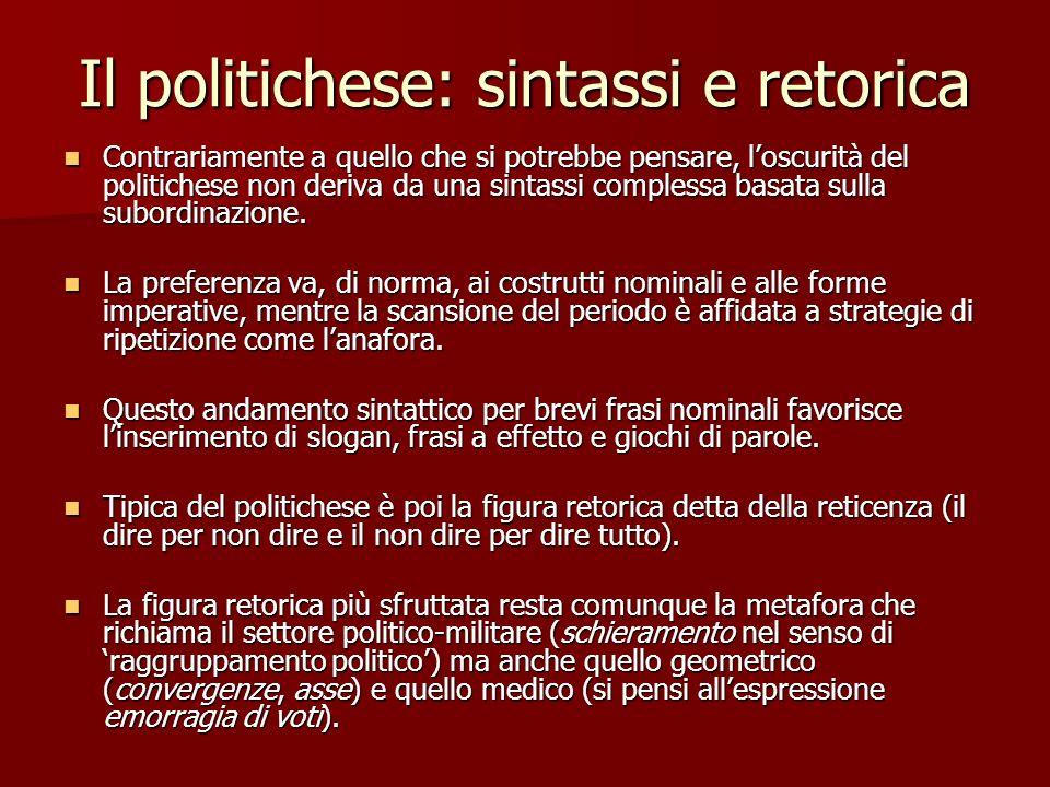 Il politichese: sintassi e retorica