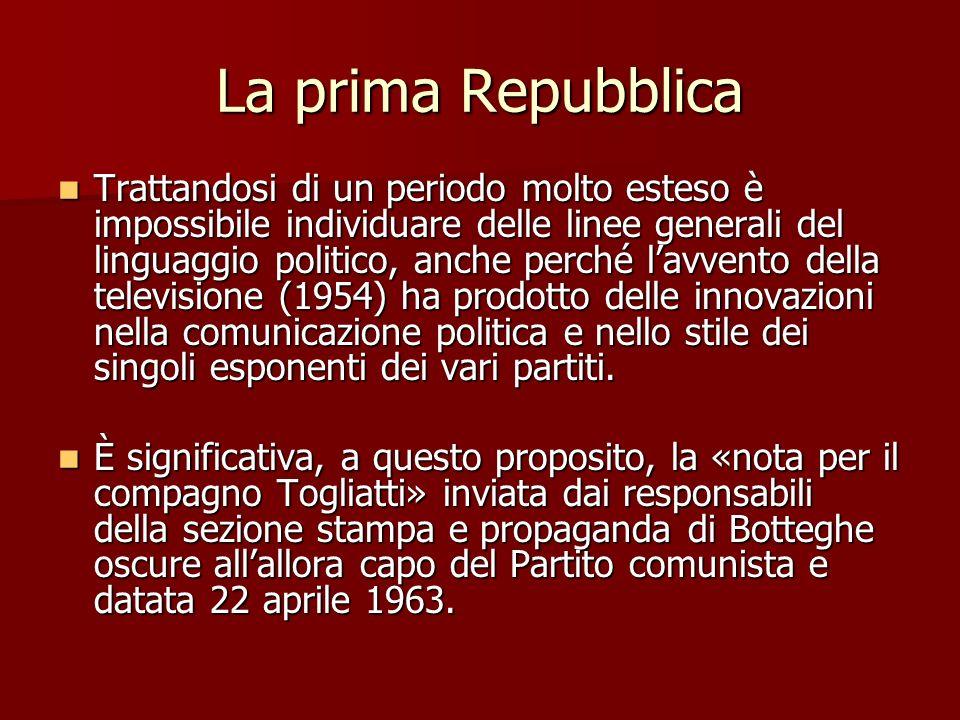 La prima Repubblica