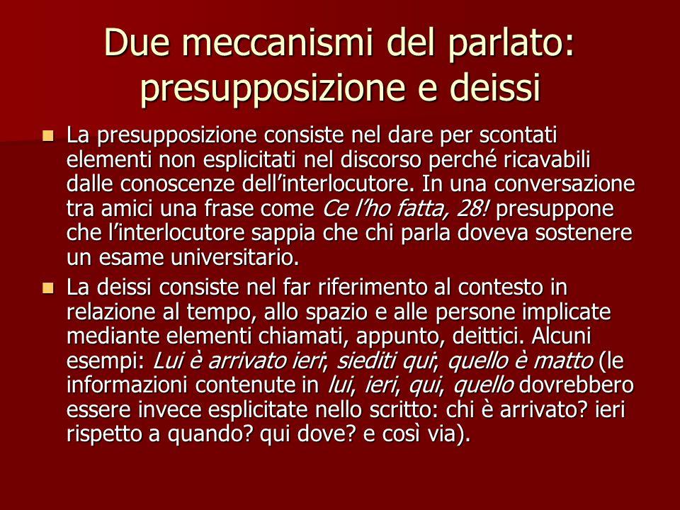 Due meccanismi del parlato: presupposizione e deissi