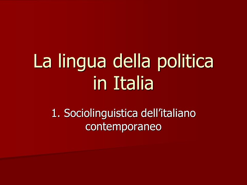 La lingua della politica in Italia