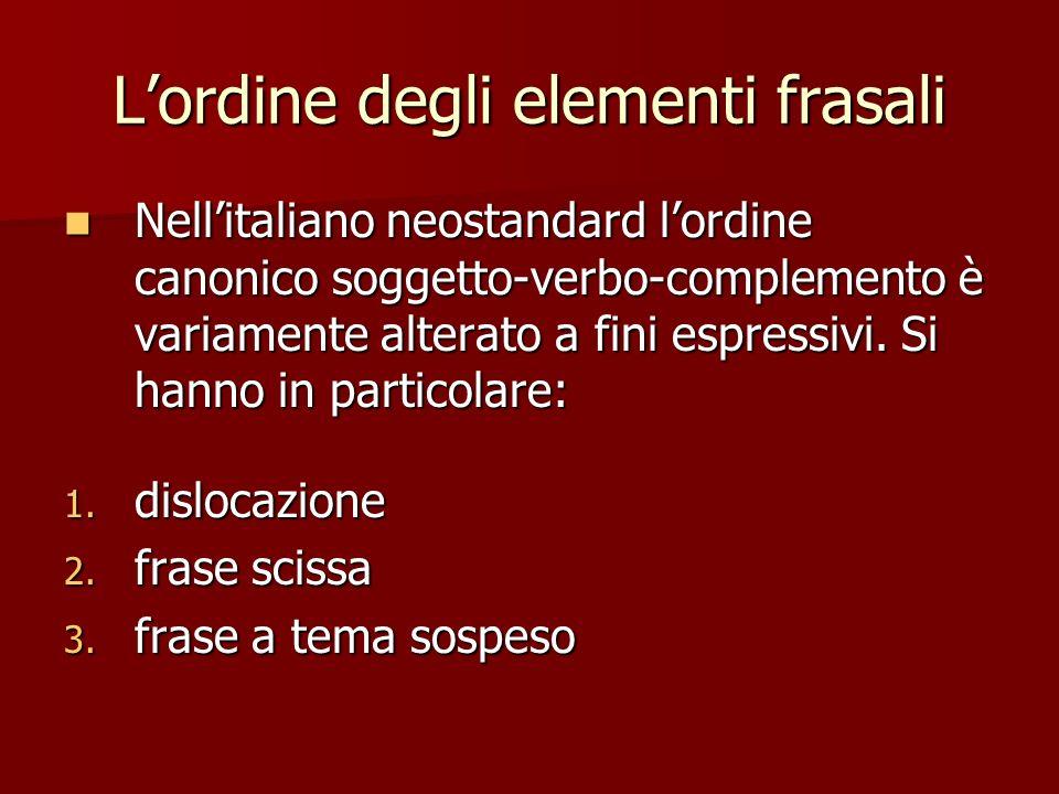 L'ordine degli elementi frasali