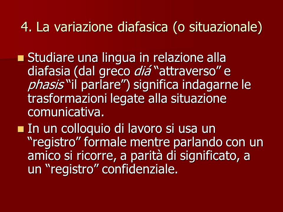 4. La variazione diafasica (o situazionale)