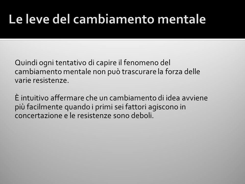 Quindi ogni tentativo di capire il fenomeno del cambiamento mentale non può trascurare la forza delle varie resistenze.