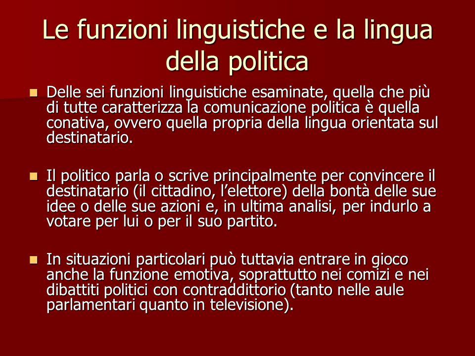 Le funzioni linguistiche e la lingua della politica