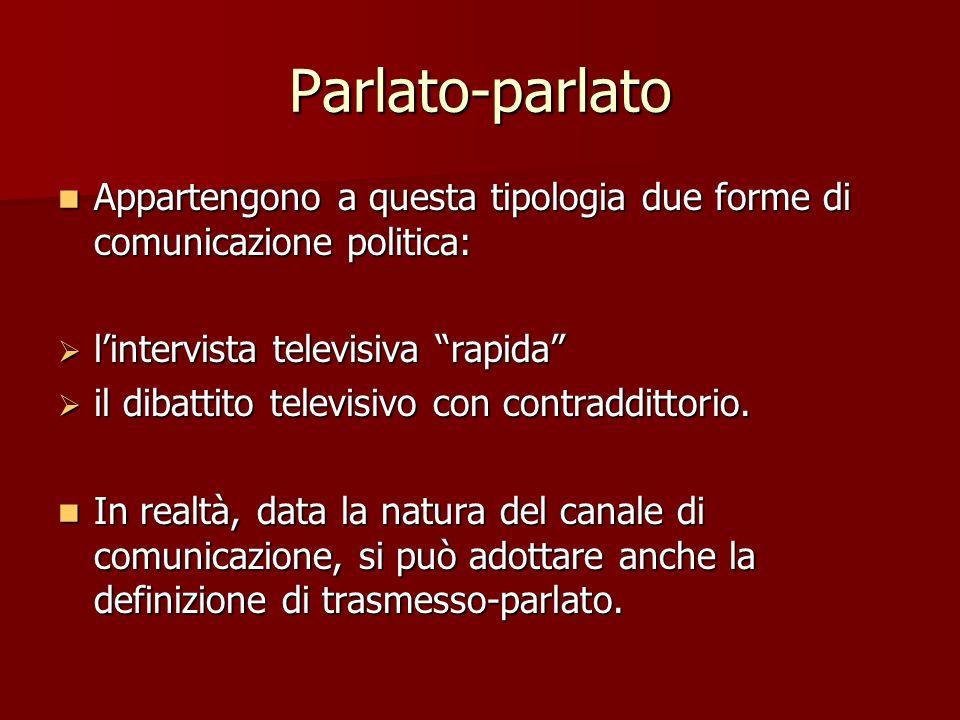 Parlato-parlato Appartengono a questa tipologia due forme di comunicazione politica: l'intervista televisiva rapida