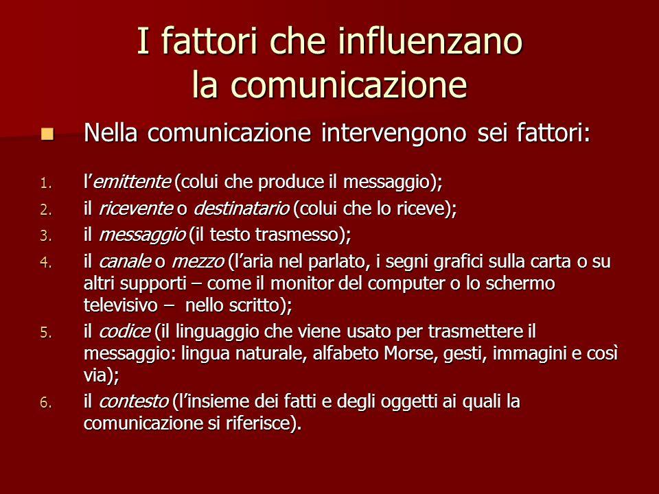 I fattori che influenzano la comunicazione