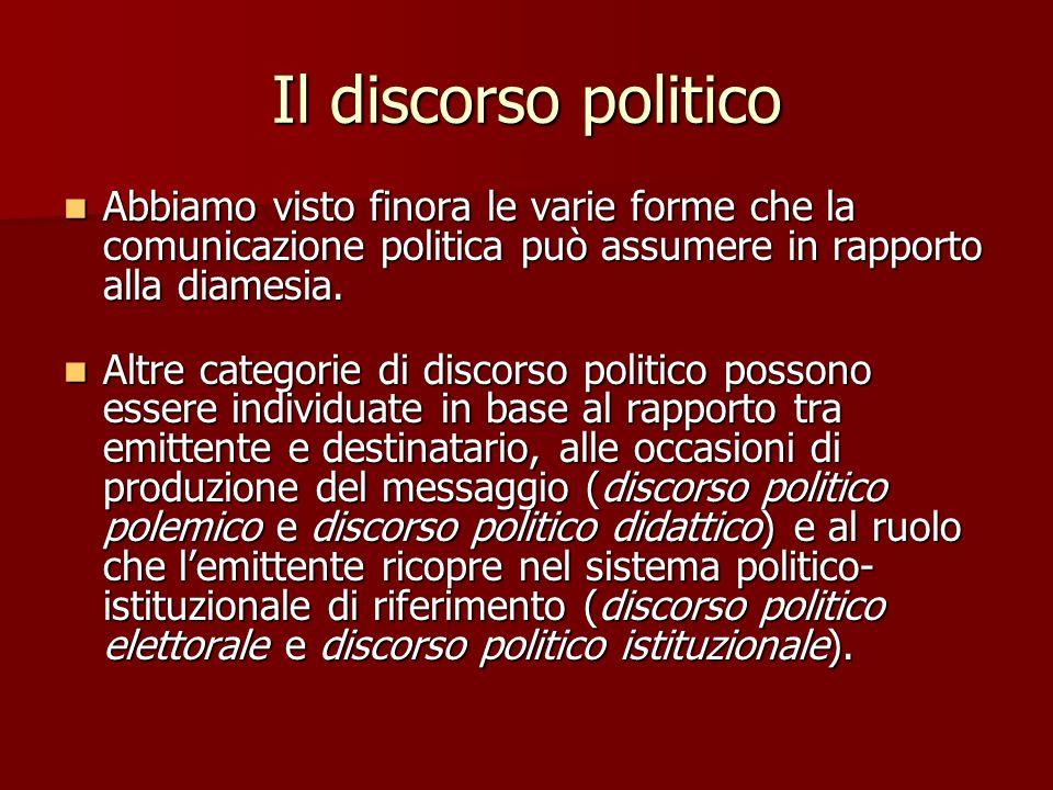 Il discorso politico Abbiamo visto finora le varie forme che la comunicazione politica può assumere in rapporto alla diamesia.