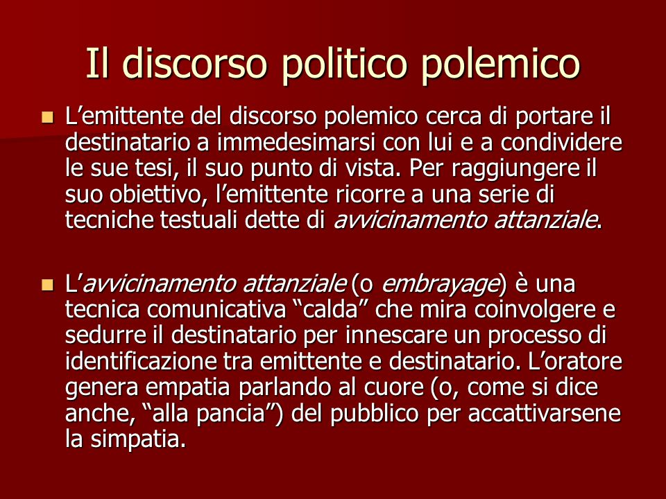 Il discorso politico polemico