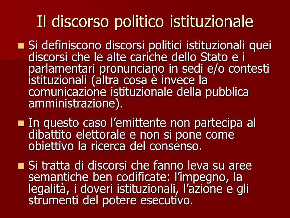 Il discorso politico istituzionale