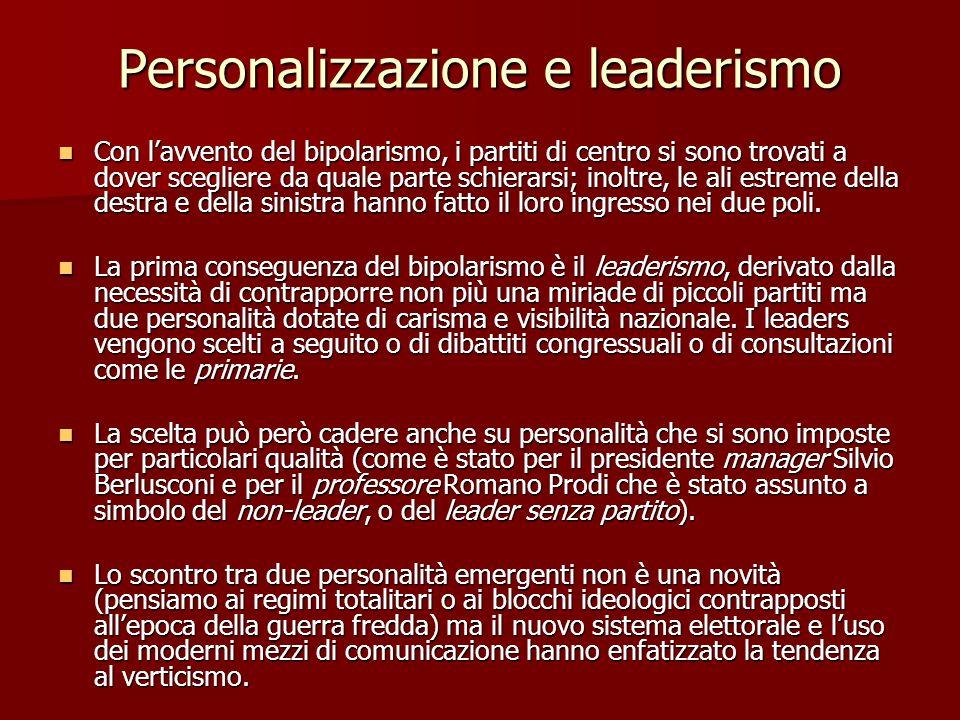 Personalizzazione e leaderismo