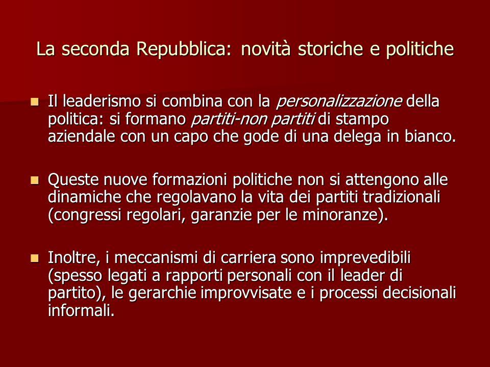 La seconda Repubblica: novità storiche e politiche